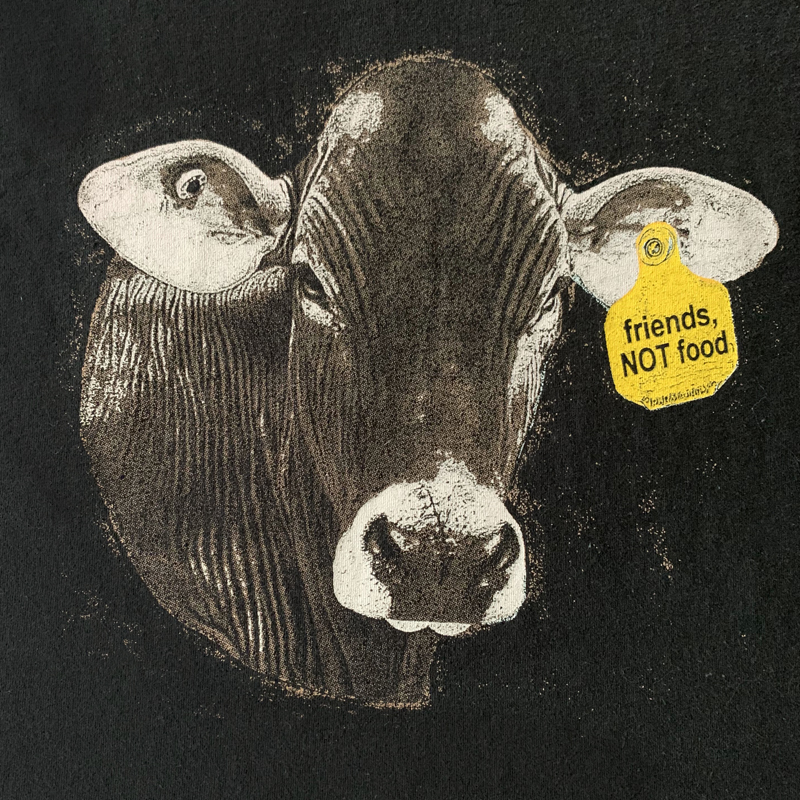 friends NOT food cow tag shirt detail