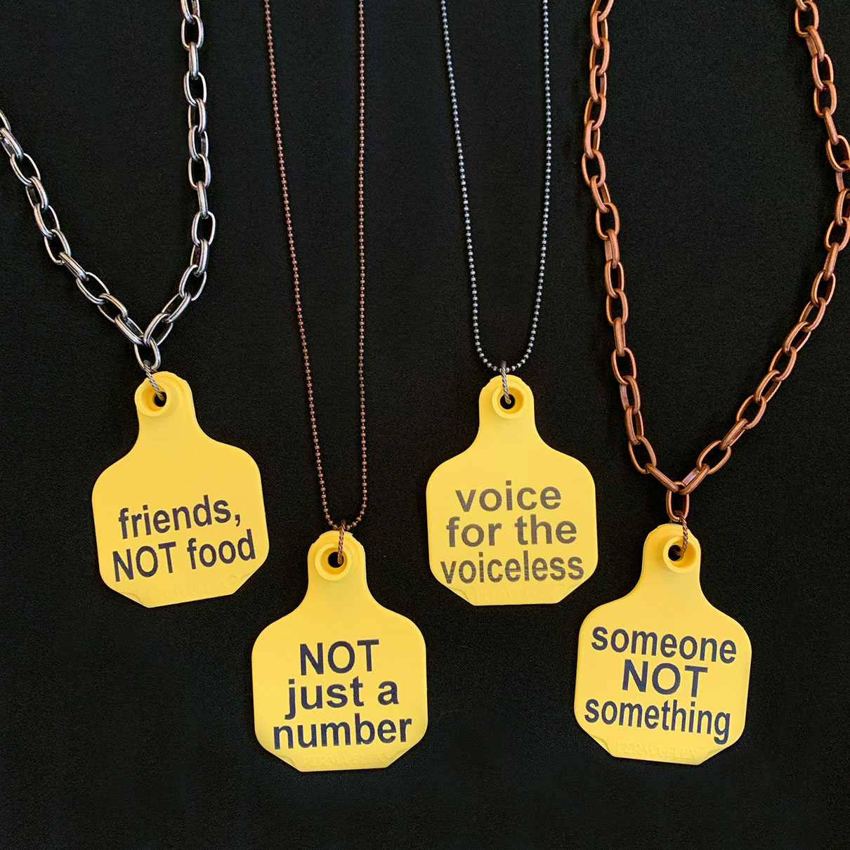 Ear Tag Necklaces. Friends Not Food. Someone Not Something. Voice for the Voiceless. Not just a number.