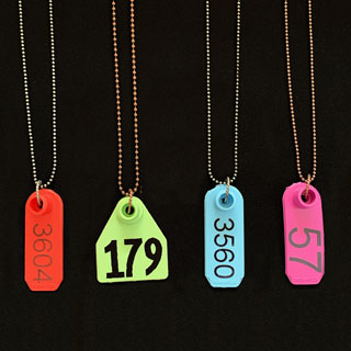 Ear tag number necklaces