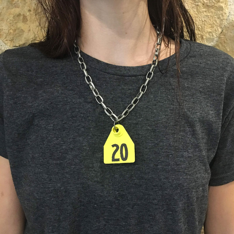Dirty Snouts Animal Ear Tag Necklace Yellow