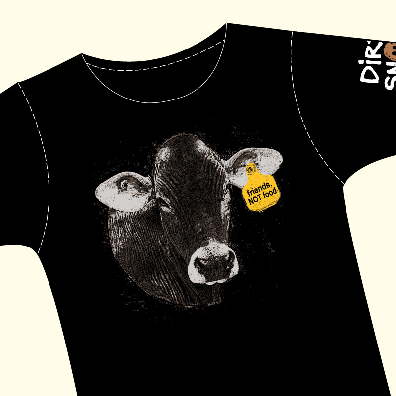 friends NOT food cow ear tag shirt