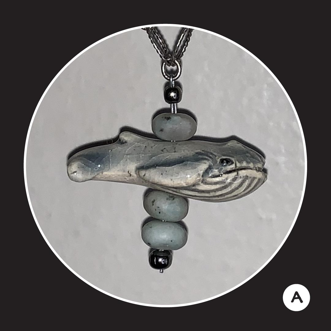 Handmade whale necklace