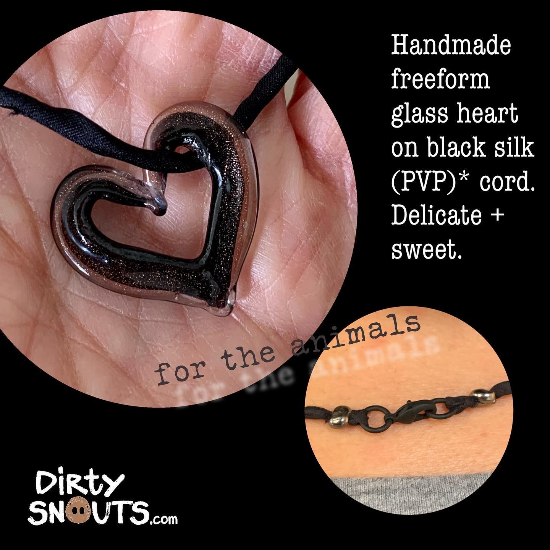 black glass heart necklace